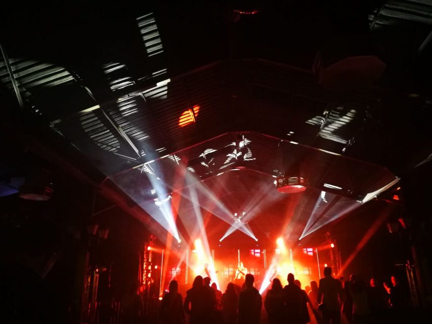 Staging and lighting at live music event